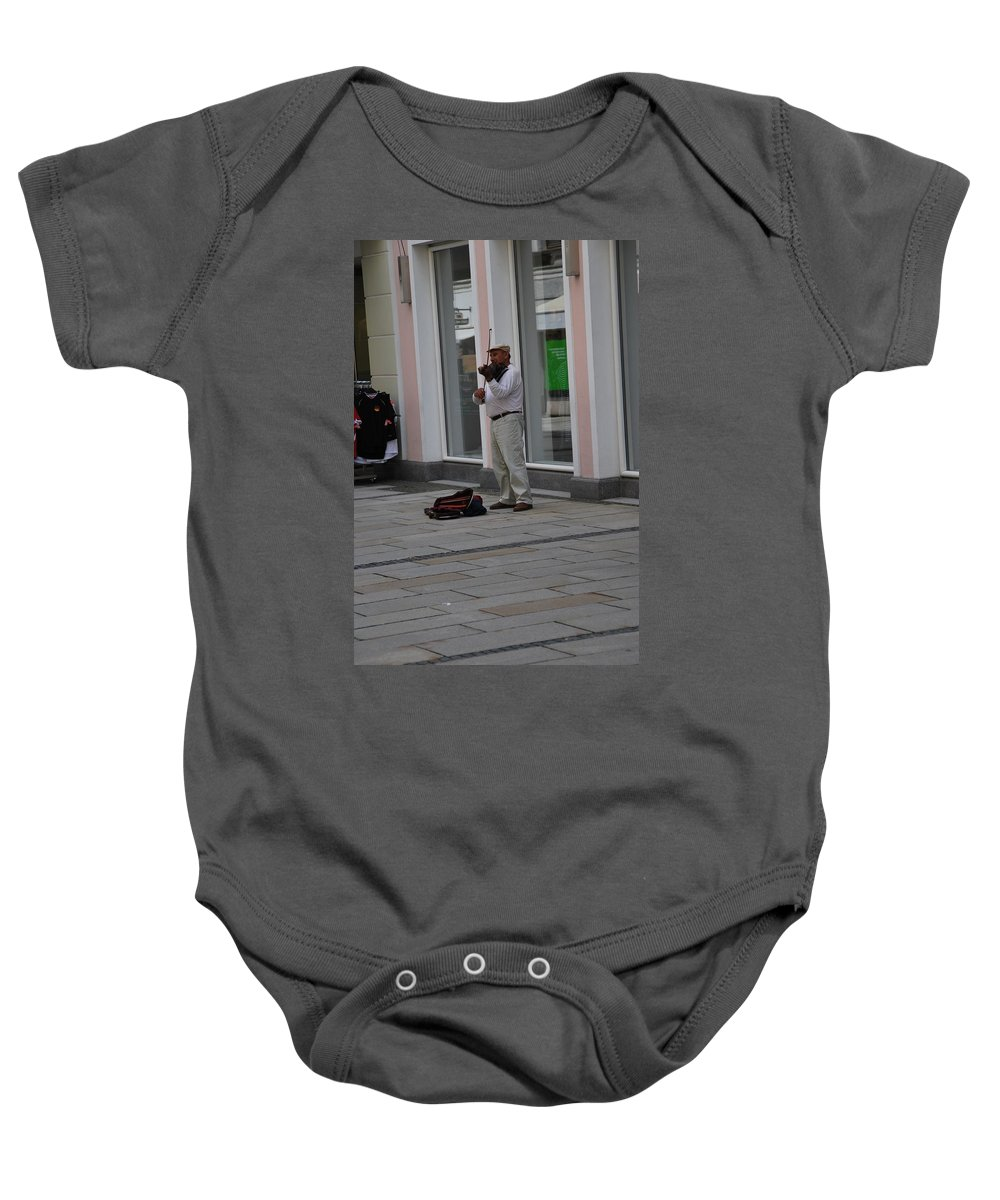 Violin Baby Onesie featuring the photograph Passau Violinist by Richard Booth