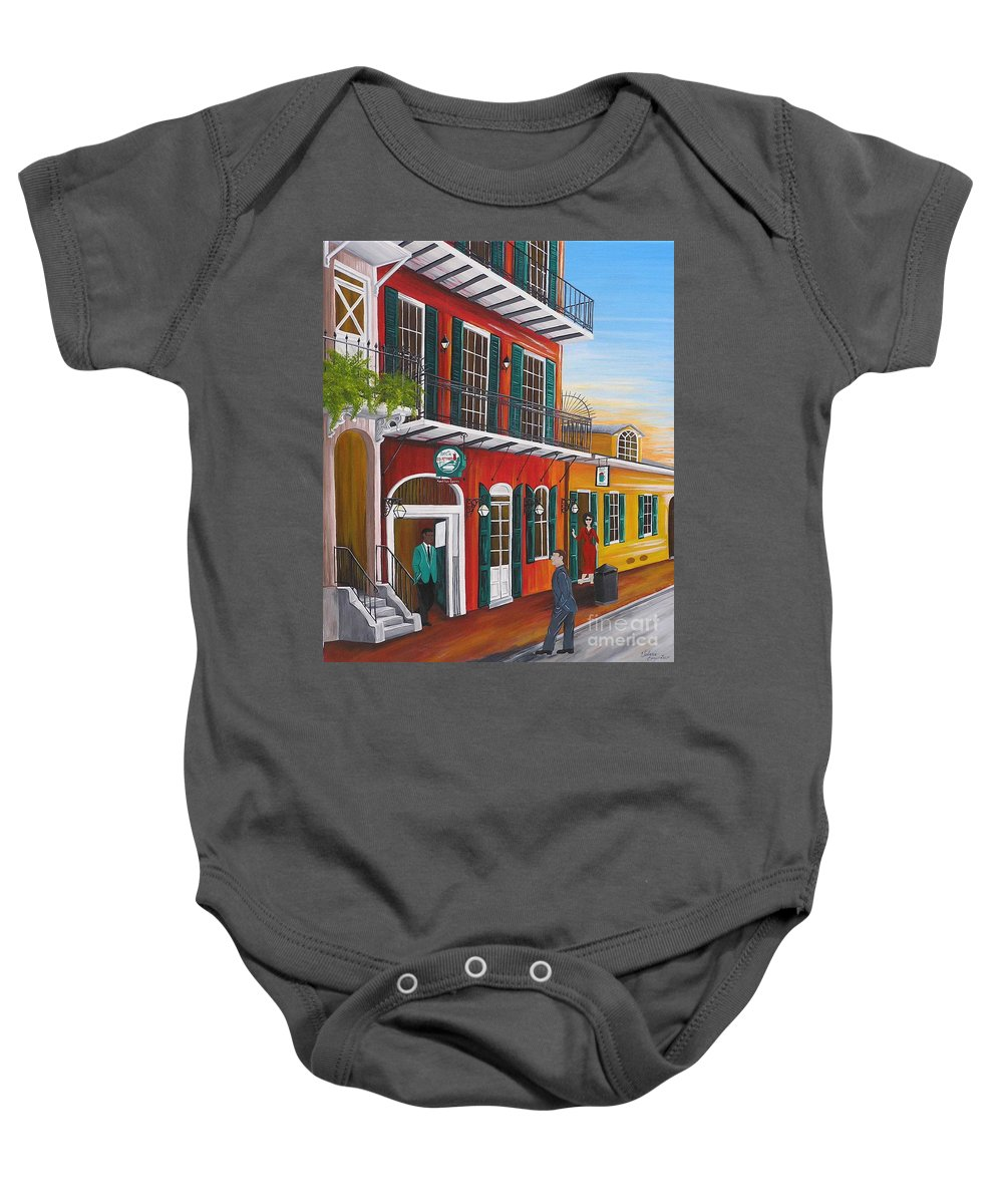 New Orleans Baby Onesie featuring the painting Pat O's Courtyard Entrance by Valerie Carpenter
