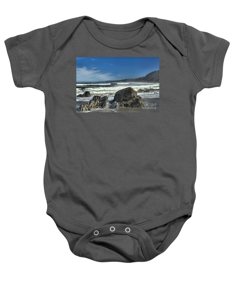 Patrick's Point Baby Onesie featuring the photograph Patrick's Rocks by Adam Jewell