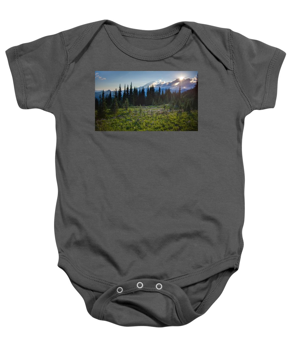 Rainier Baby Onesie featuring the photograph Peaceful Mountain Flowers by Mike Reid