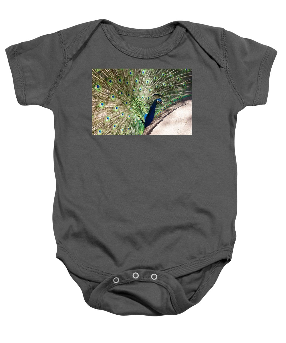 Bird Baby Onesie featuring the photograph Peacock Show by Ernie Echols