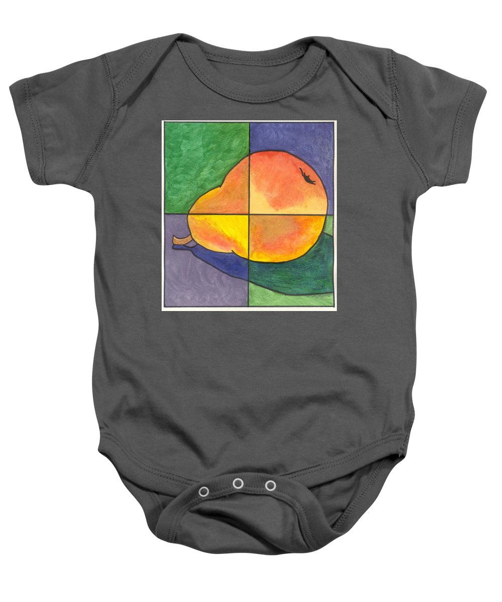 Pear Baby Onesie featuring the painting Pear II by Micah Guenther