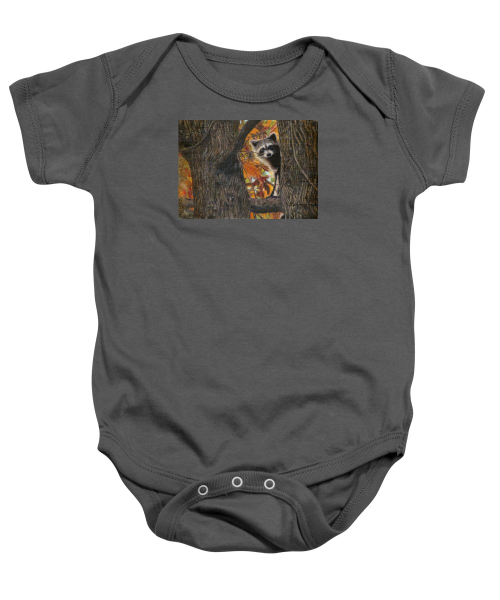 Raccoon Baby Onesie featuring the painting Peeking Bandit by Sherryl Lapping