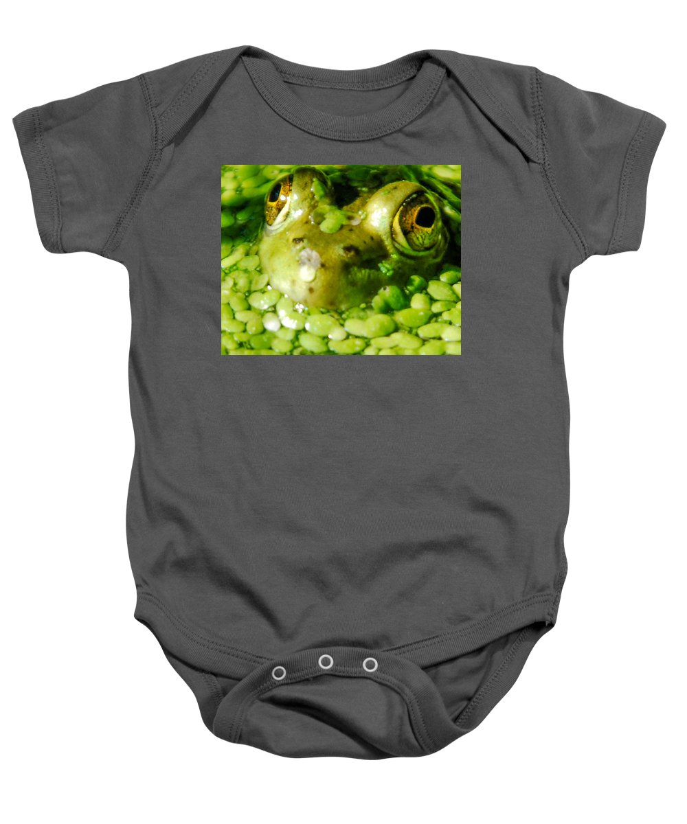 Green Algae Baby Onesie featuring the photograph Peeping Through The Algae by Optical Playground By MP Ray