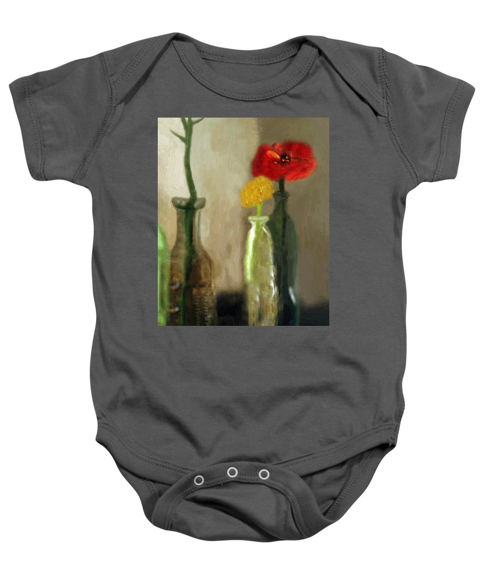 Bottles Baby Onesie featuring the painting Peggy's Flowers by RC DeWinter