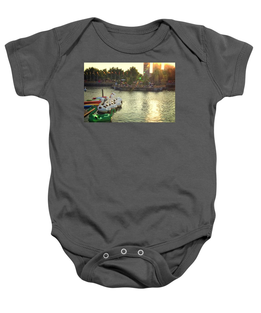 Penns Landing Baby Onesie featuring the photograph Penns Landing Rays by Alice Gipson
