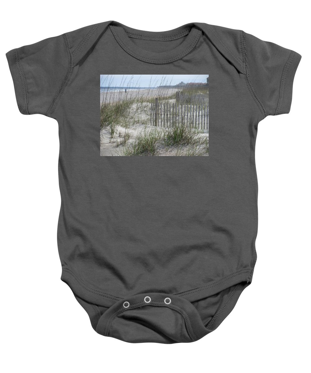 Landscape Baby Onesie featuring the photograph Pensive Walker by Ellen Meakin
