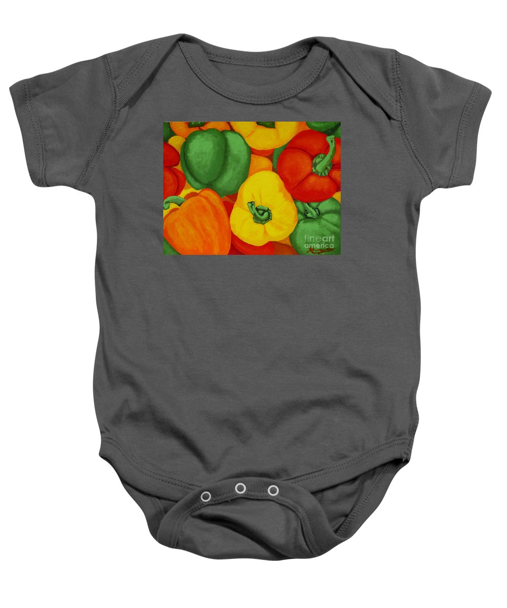 Peppers Baby Onesie featuring the painting Peppers by Anthony Dunphy
