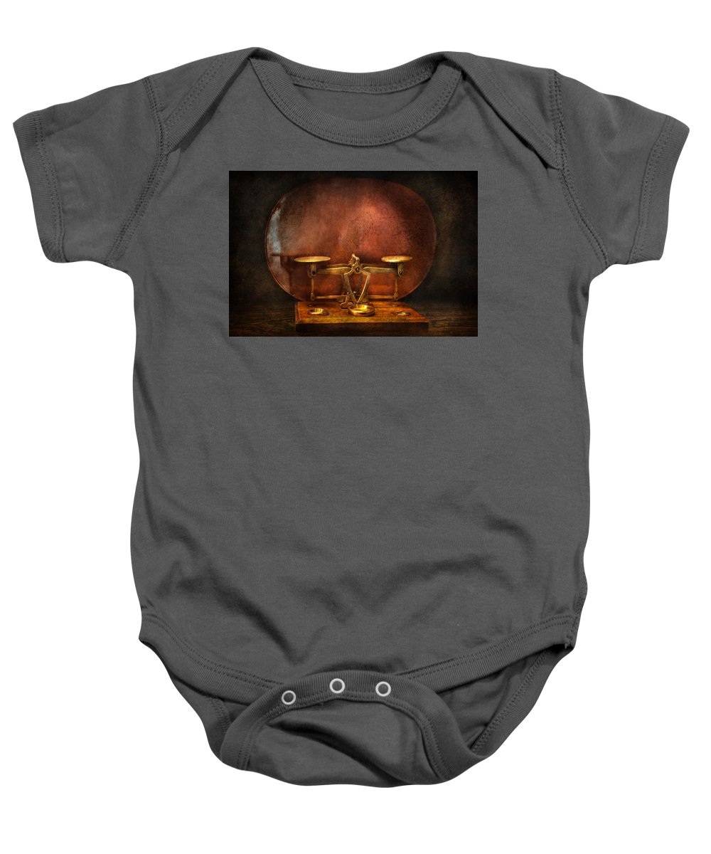 Old Fashioned Baby Onesie featuring the photograph Pharmacy - Balancing Act by Mike Savad