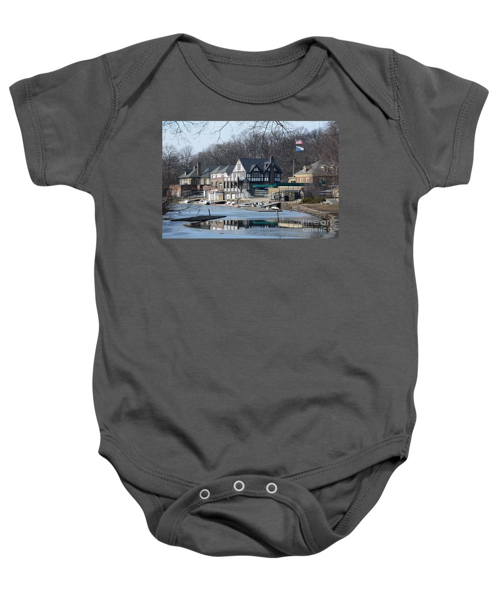 Philadelphia Baby Onesie featuring the photograph Philadelphia - Boat House Row by Cindy Manero