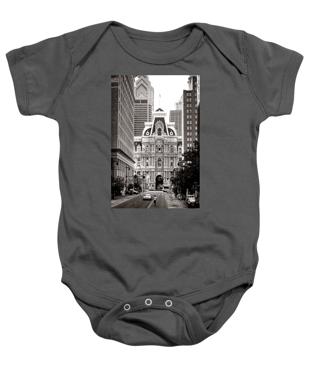 Philadelphia Baby Onesie featuring the photograph Philadelphia City Hall by Olivier Le Queinec