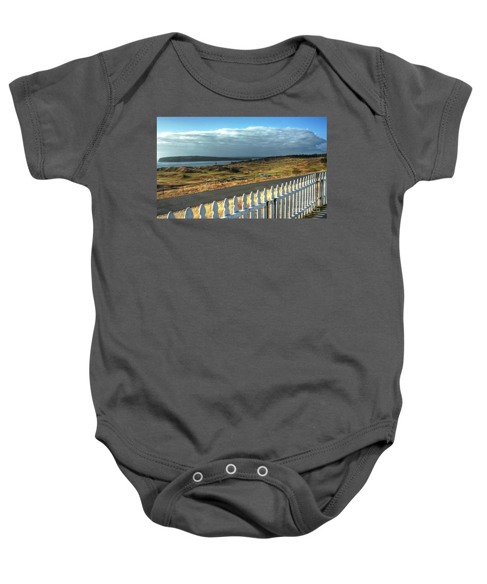 Chambers Creek Baby Onesie featuring the photograph Picket Fence - Chambers Bay Golf Course by Chris Anderson