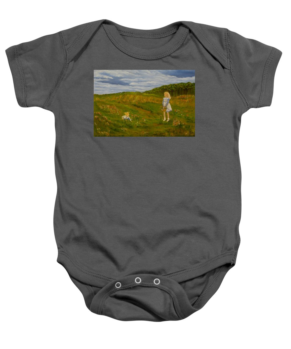 Landscape Painting Baby Onesie featuring the painting Picking Wildflowers by Laura Corebello