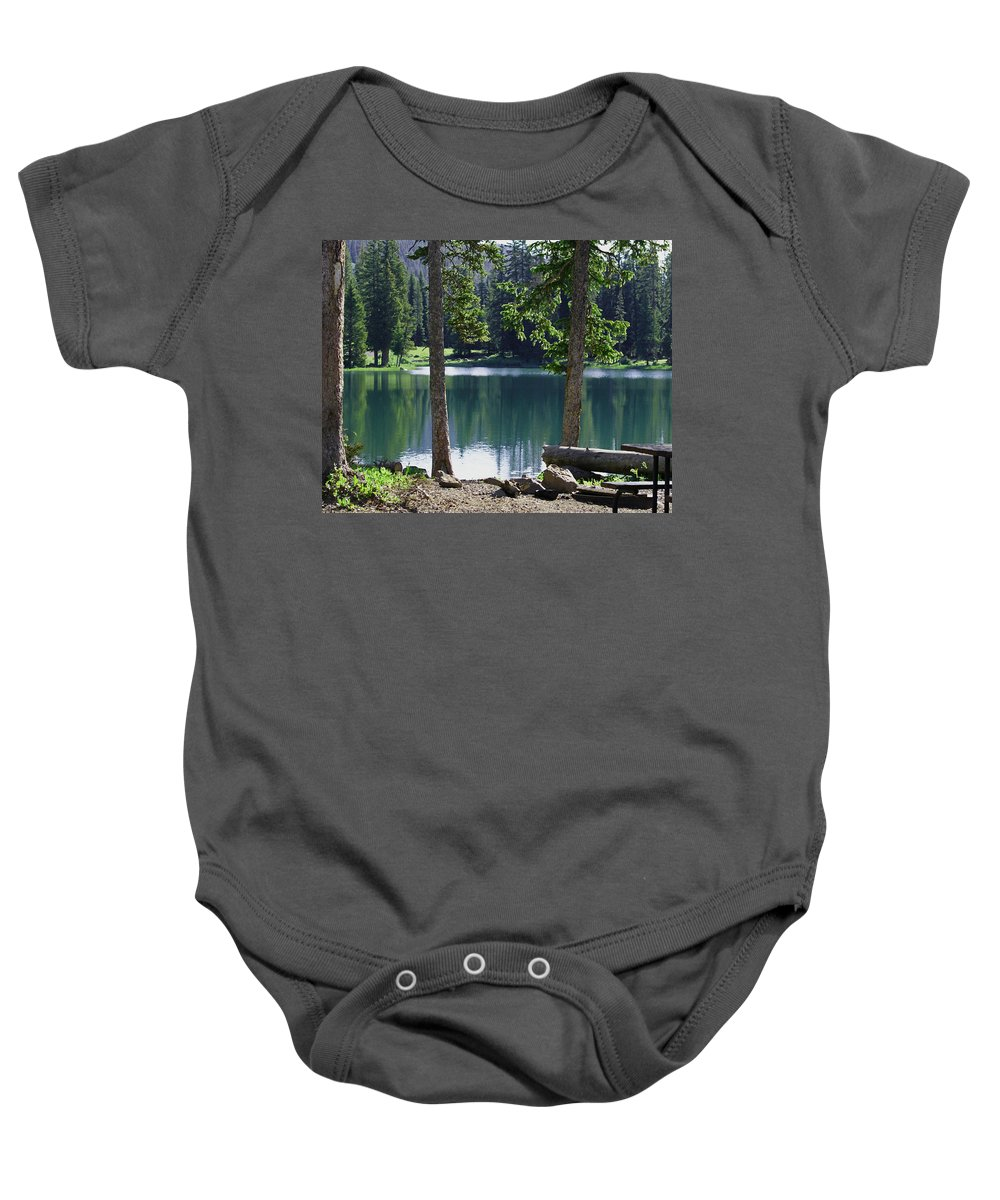 Lakes Baby Onesie featuring the digital art Picnic By The Lake by Ernie Echols