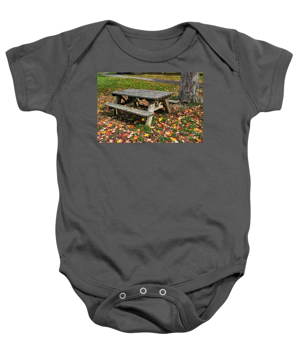 Travel Baby Onesie featuring the photograph Picnic Table In Autumn by Louise Heusinkveld