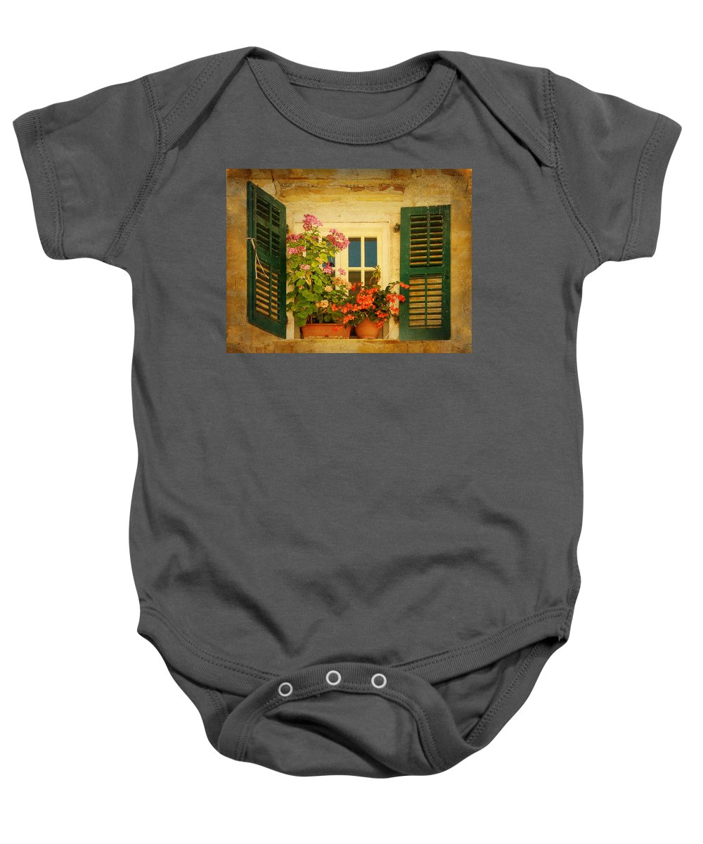 Window Baby Onesie featuring the photograph Picturesque Taormina Window by Carla Parris