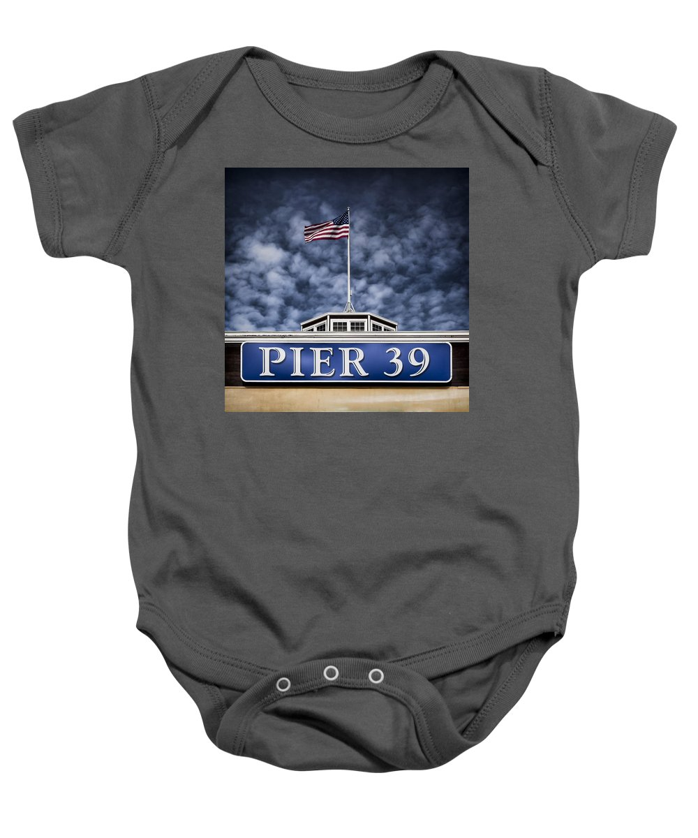 Pier 39 Baby Onesie featuring the photograph Pier 39 by Dave Bowman