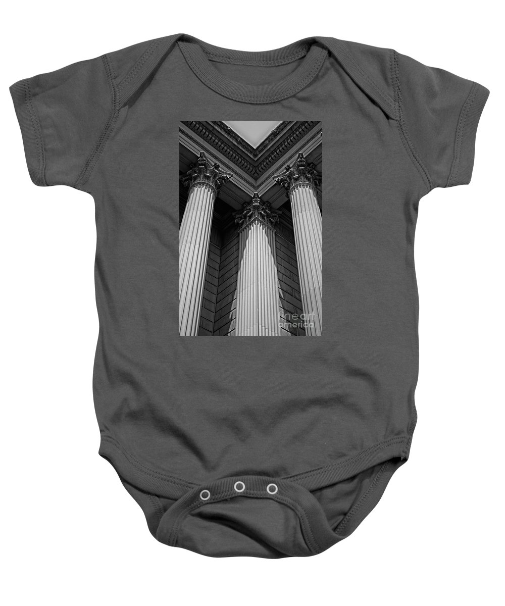 B&w Baby Onesie featuring the photograph Pillars Of Strength by Tom Gari Gallery-Three-Photography