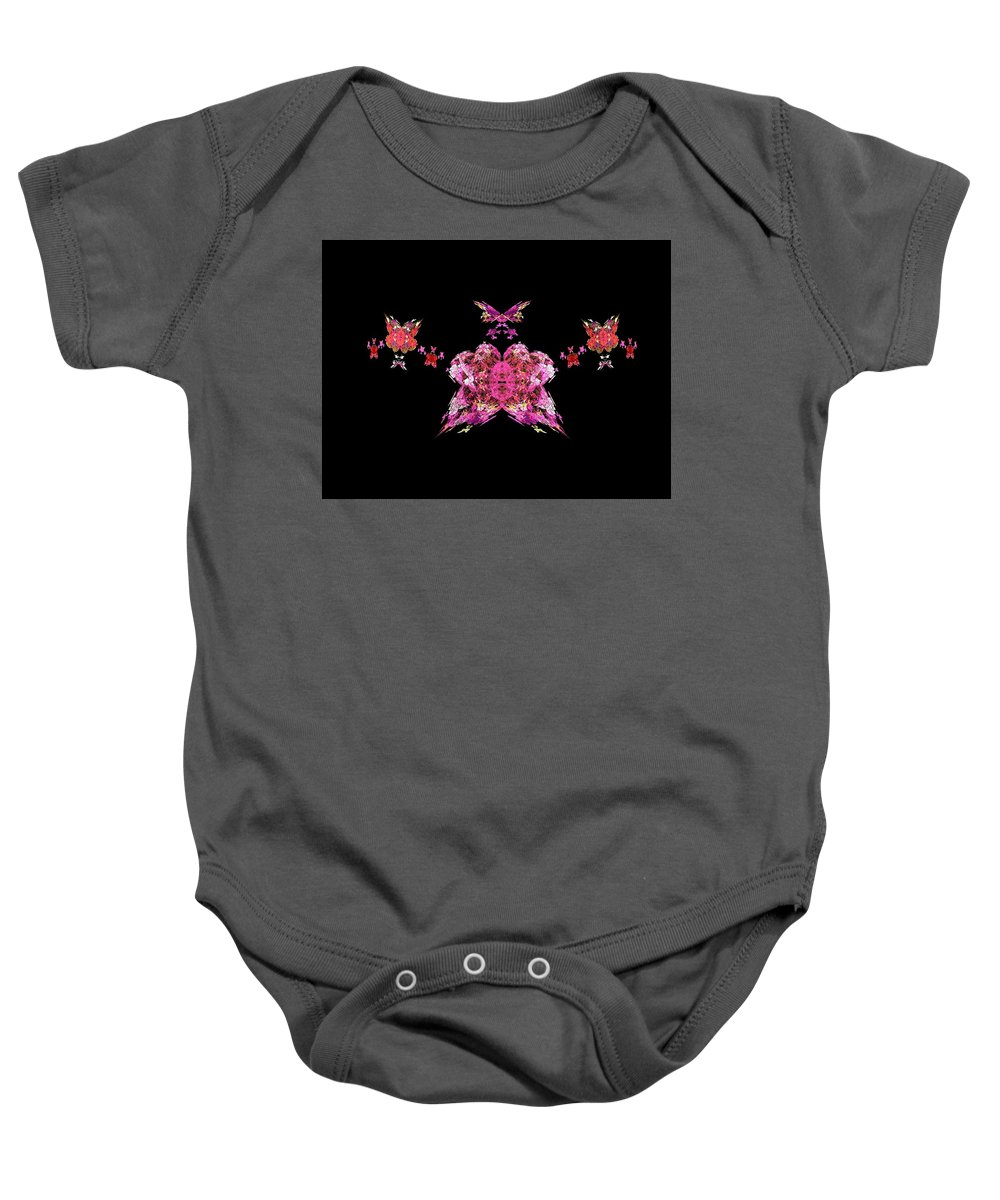 Fractals Baby Onesie featuring the painting Pink Butterflies by Bruce Nutting