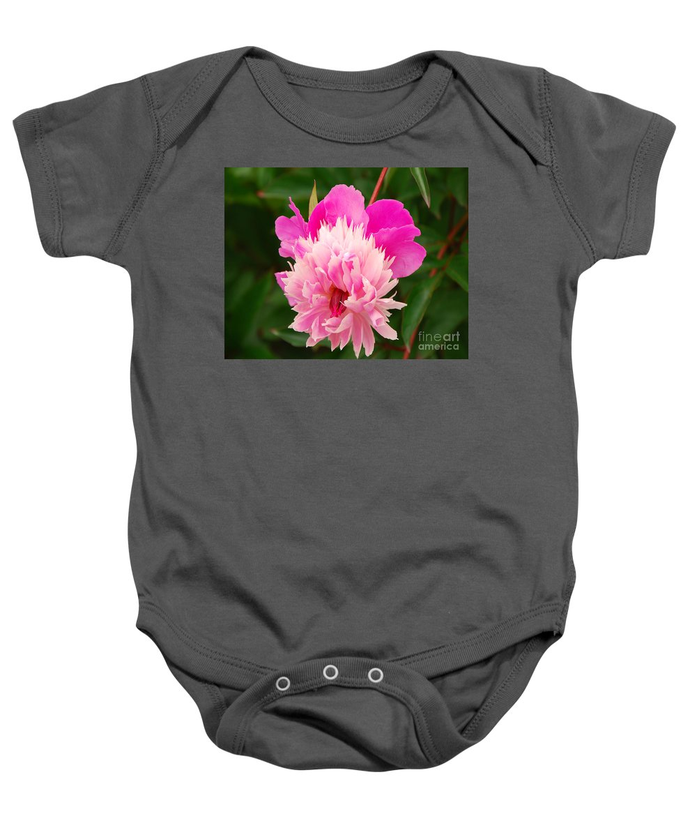 Flower Baby Onesie featuring the photograph Pink Peony by Mary Carol Story
