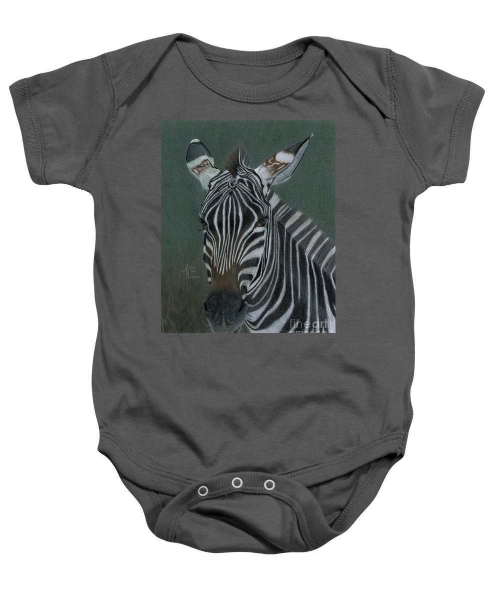 Zebra Baby Onesie featuring the drawing Pinny by Angie Deaver