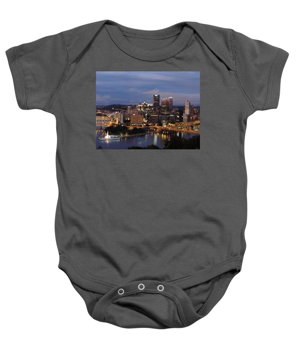 City Baby Onesie featuring the photograph Pittsburgh Skyline At Dusk From Mount Washington by Cityscape Photography