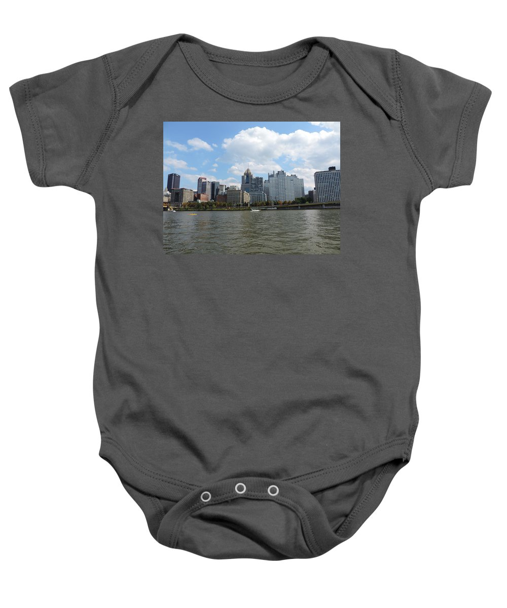 City Baby Onesie featuring the photograph Pittsburgh Skyline From The Waterfront by Cityscape Photography