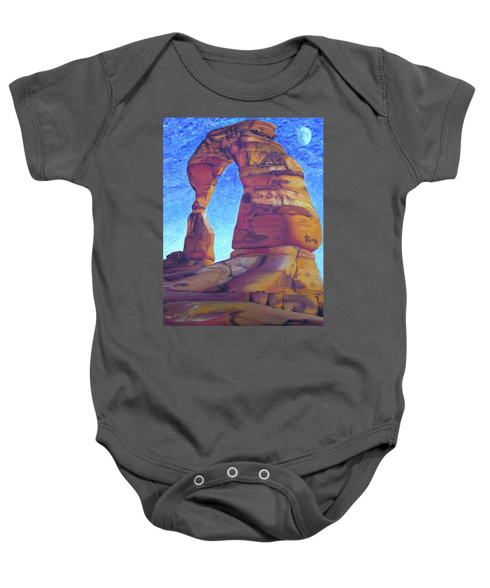 Moab Baby Onesie featuring the painting Place Of Power by Joshua Morton