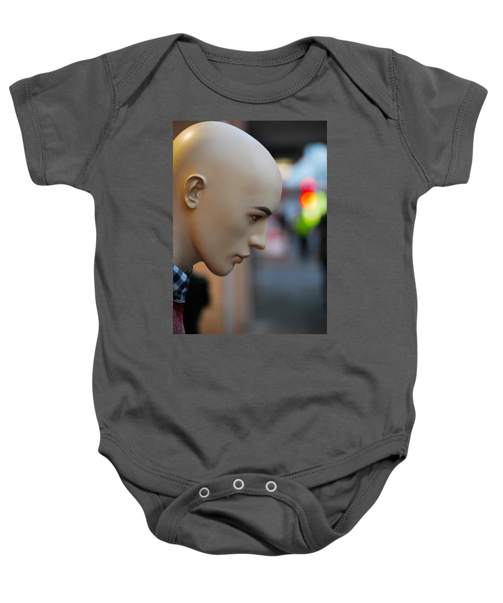 Mannequin Baby Onesie featuring the photograph Plastic Fed Feelings by The Artist Project