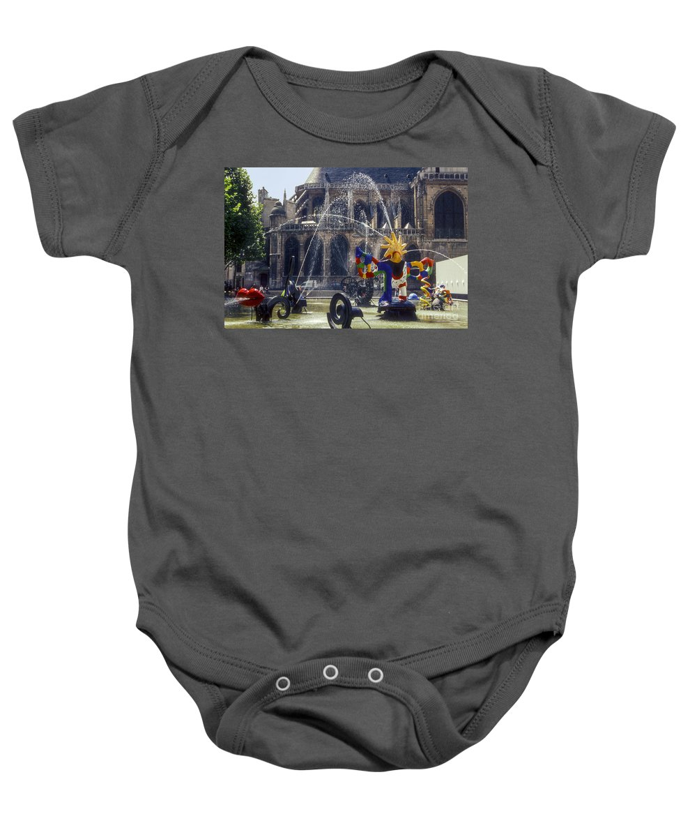 Paroisse Saint Merry Paris France Playground Playgrounds Church Churches Building Buildings Structure Structures Architecture City Cities Cityscape Cityscapes Fountain Fountains Baby Onesie featuring the photograph Playground by Bob Phillips