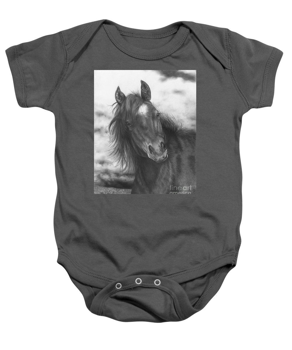 Equine Art Baby Onesie featuring the drawing Playing Before The Storm by Barb Schacher