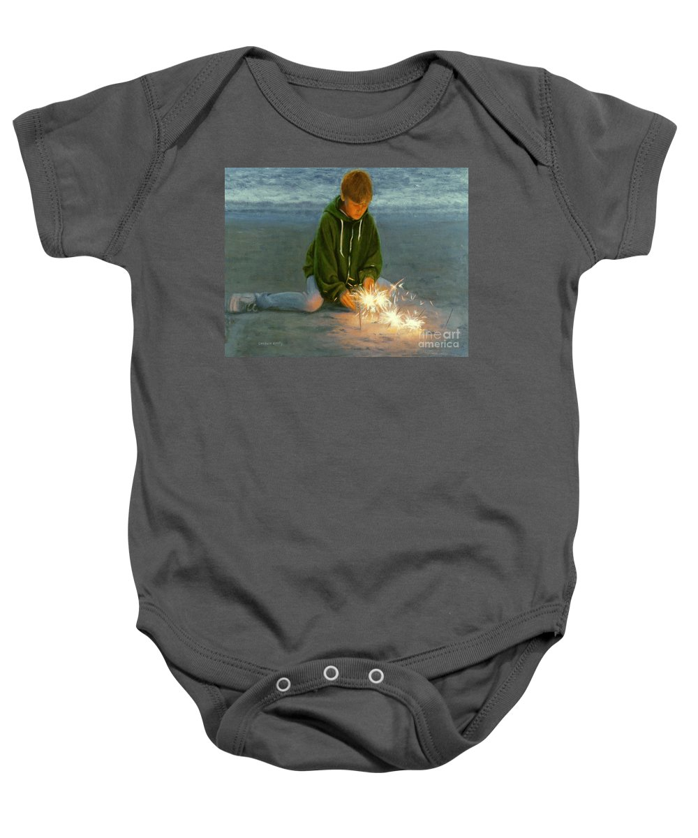 Boy Baby Onesie featuring the painting Playing With Fire by Candace Lovely