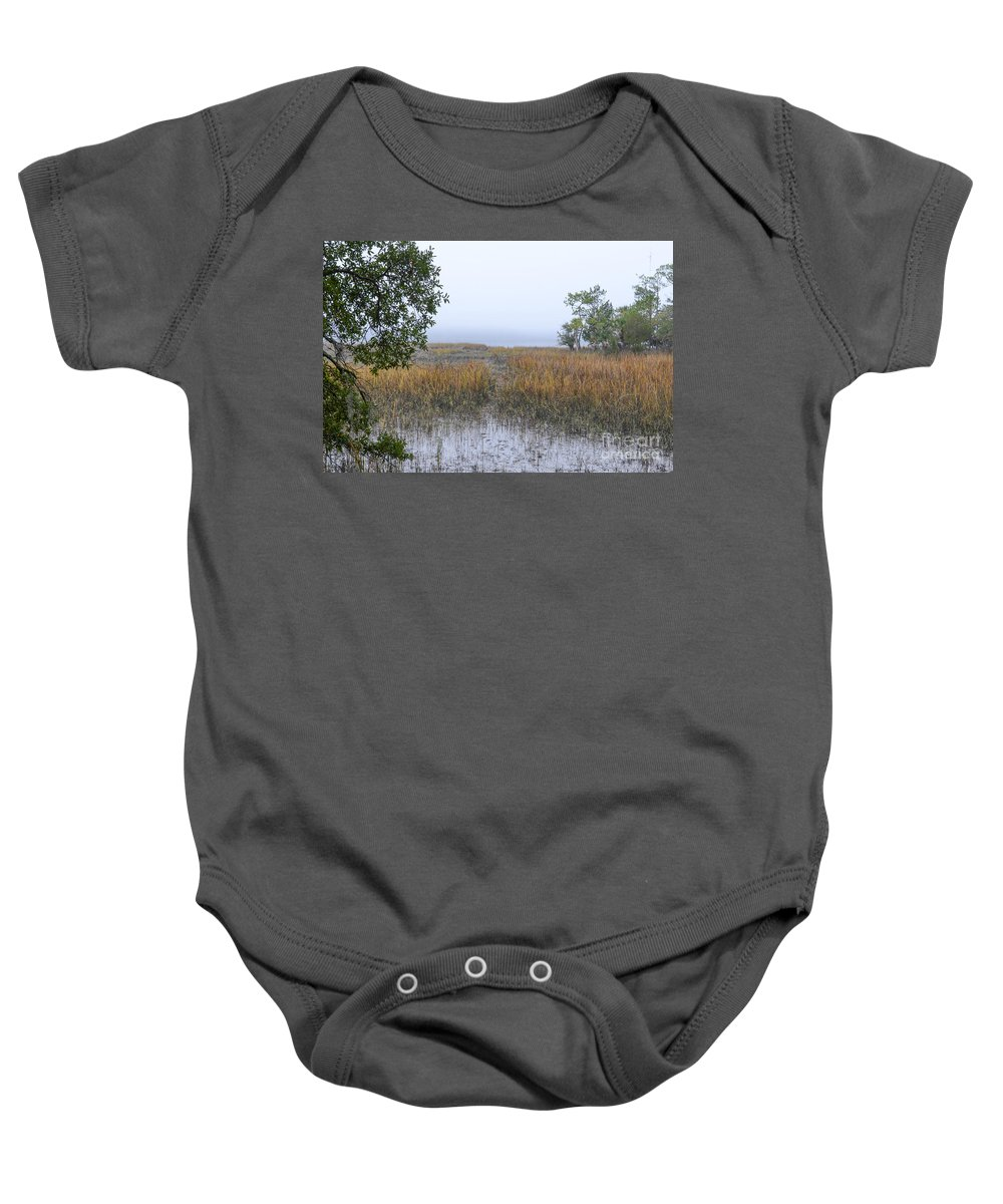 Fog Baby Onesie featuring the photograph Pluff Mud Aroma by Dale Powell