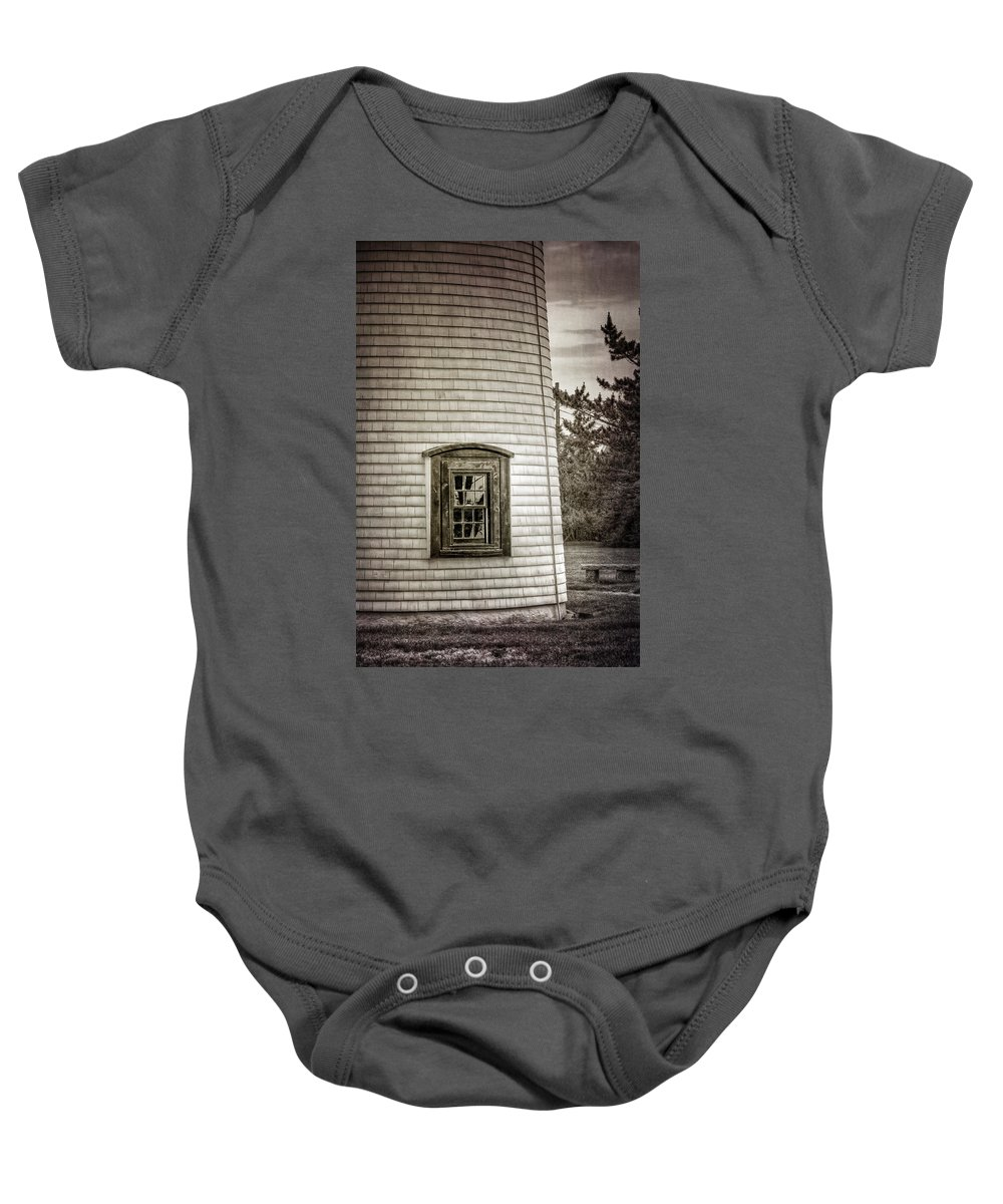 Architecture Baby Onesie featuring the photograph Plum Island Window by Joan Carroll