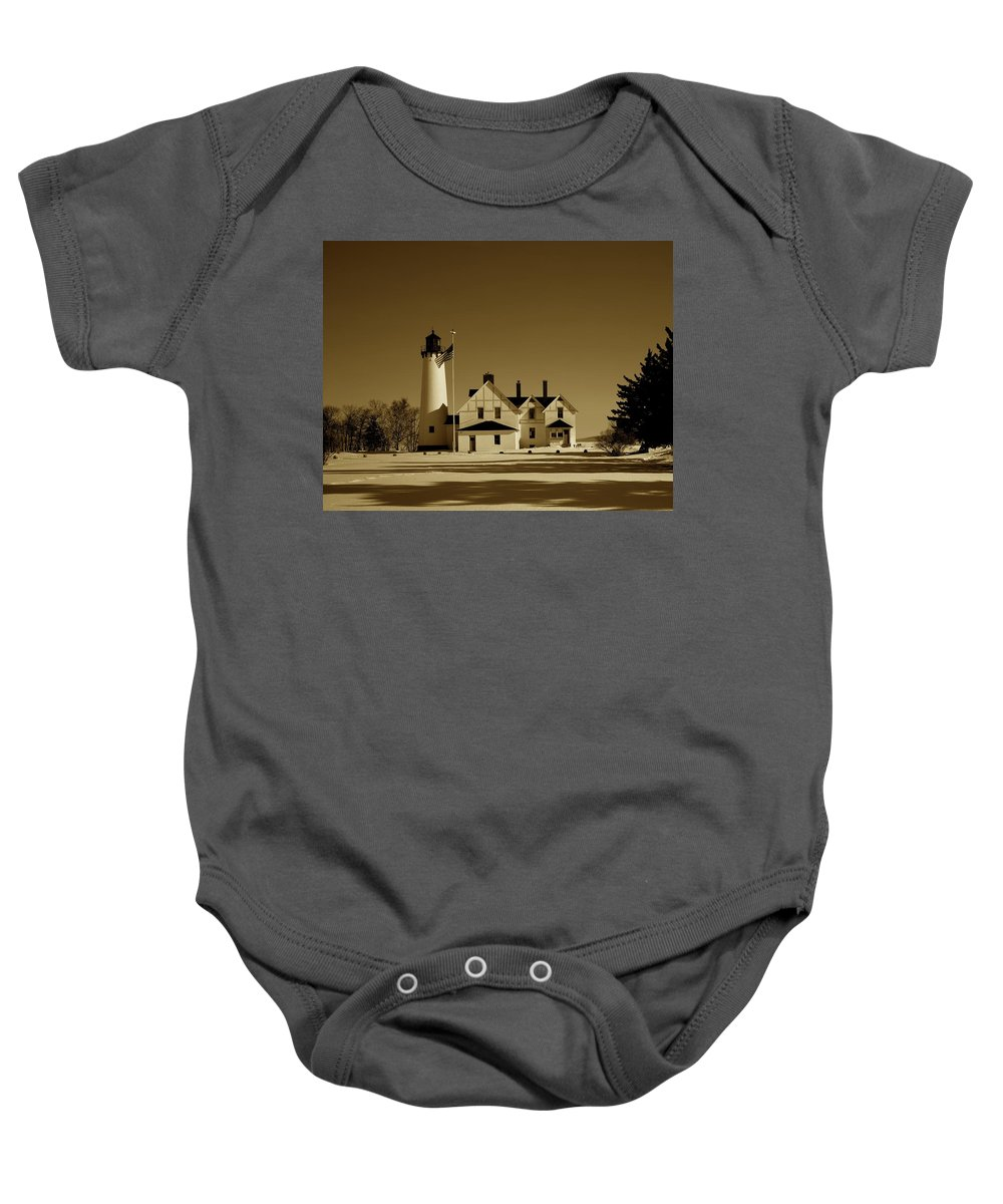 Point Iroquois Light Station Baby Onesie featuring the photograph Point Iroquois Light Station by Mountain Dreams