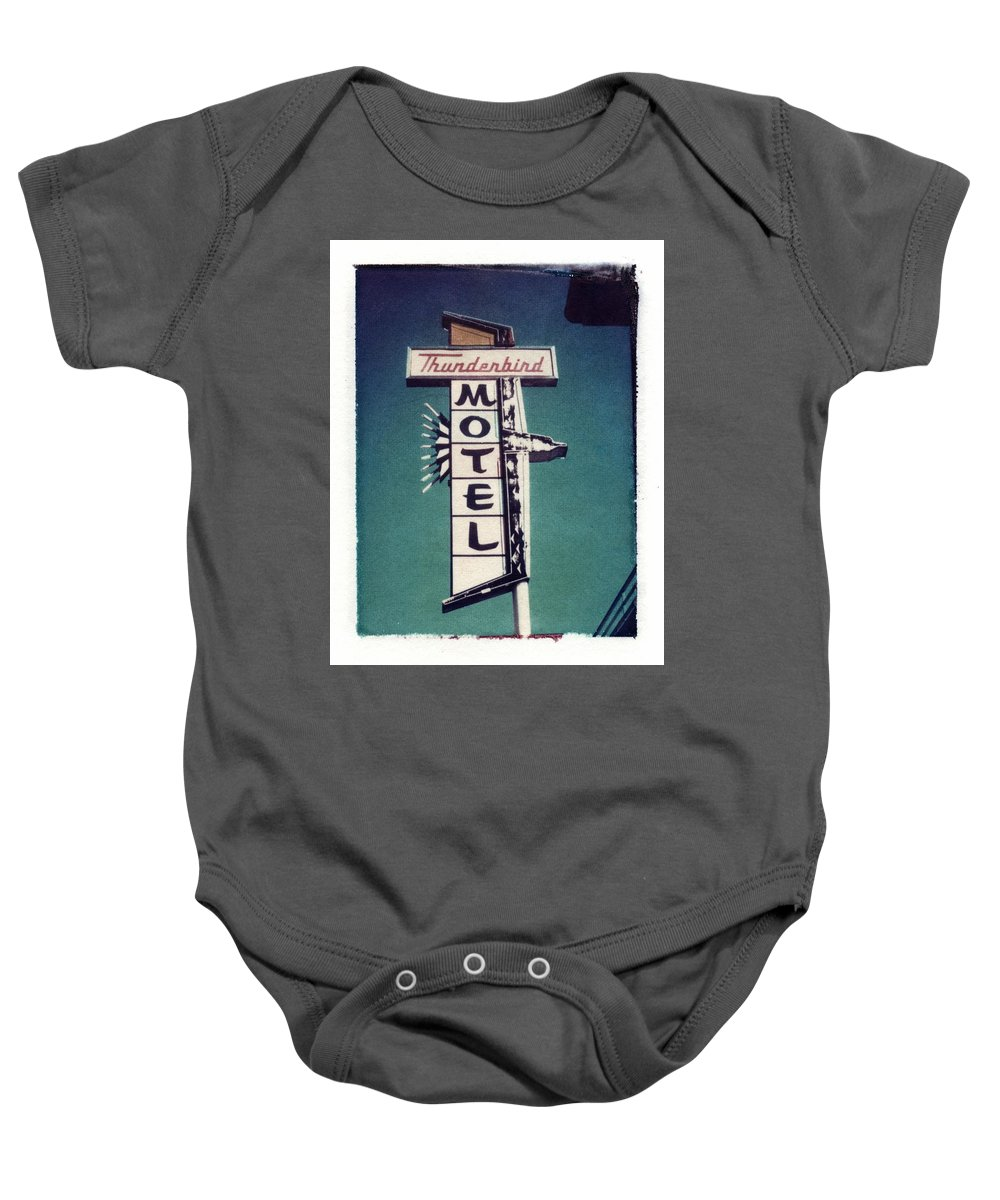 Motel Baby Onesie featuring the photograph Polaroid Transfer Motel by Jane Linders