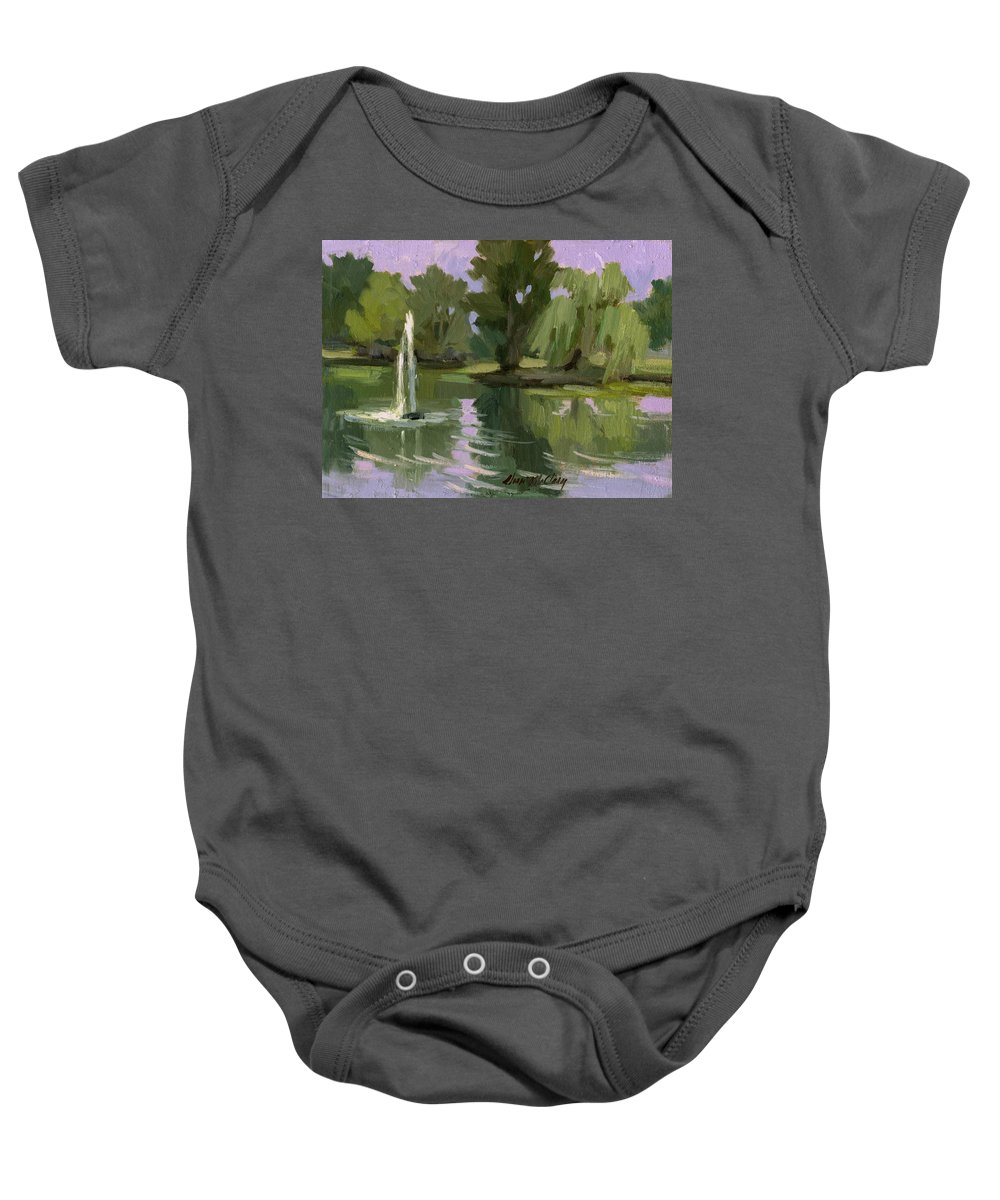 Fort Dent Baby Onesie featuring the painting Pond At Fort Dent Tukwilla by Diane McClary