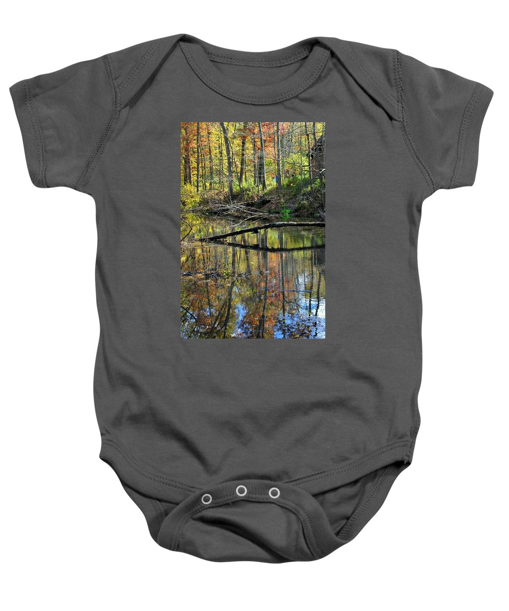 Landscape Baby Onesie featuring the photograph Pond Reflects by Frozen in Time Fine Art Photography