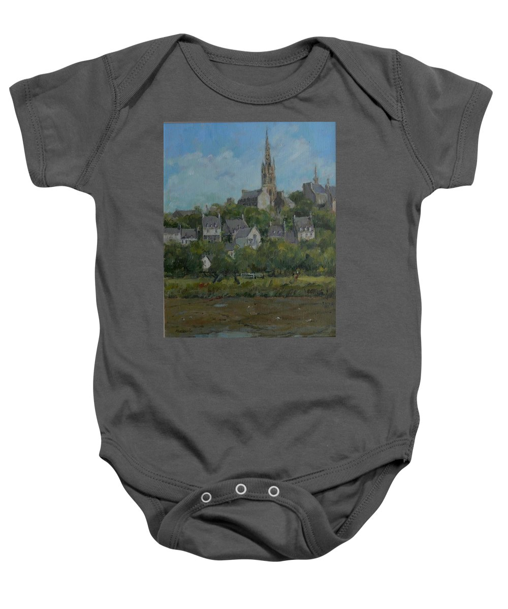 Breton Baby Onesie featuring the photograph Pont Croix, Brittany, 2007 Oil On Canvas by Pat Maclaurin