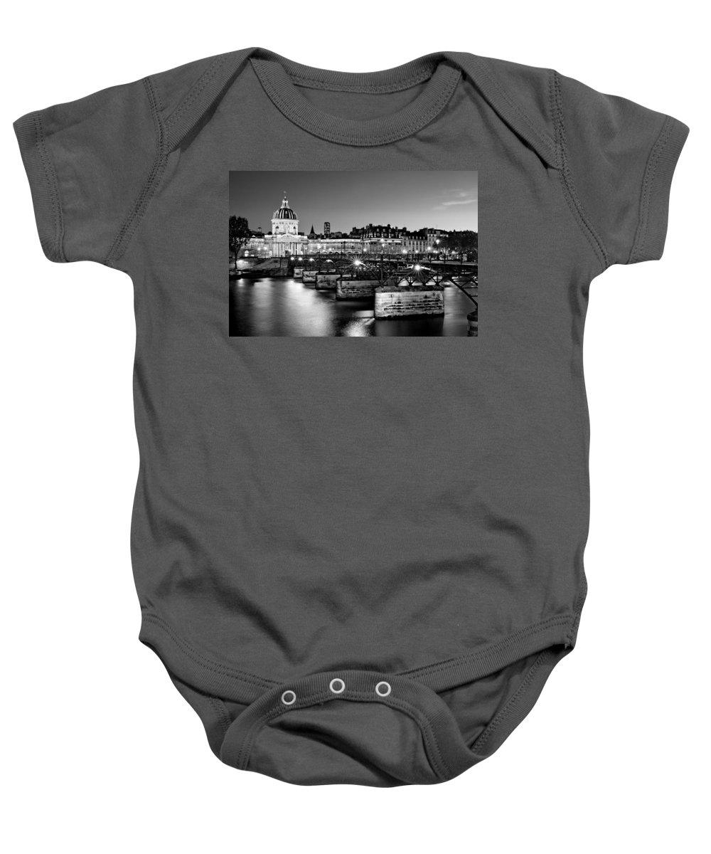 Pont Des Arts Baby Onesie featuring the photograph Pont Des Arts And Institut De France / Paris by Barry O Carroll