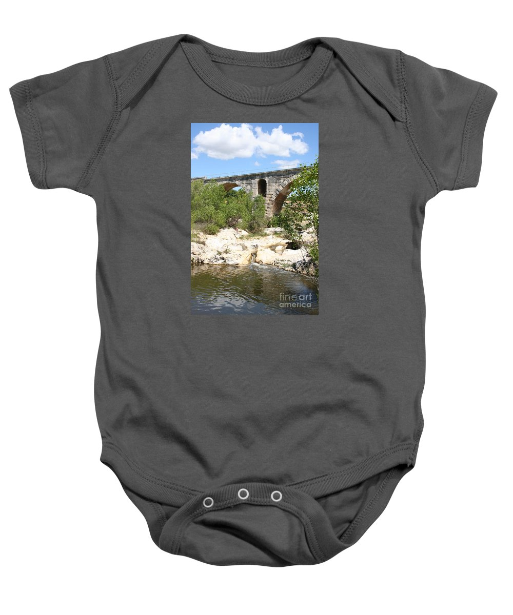 Roman Stonebridge Baby Onesie featuring the photograph Pont St. Julien And River by Christiane Schulze Art And Photography