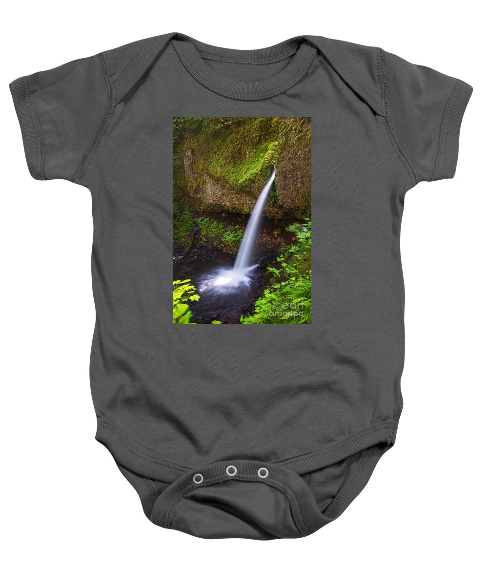Ponytail Falls Baby Onesie featuring the photograph Ponytail Falls - Columbia River Gorge - Oregon by Yefim Bam
