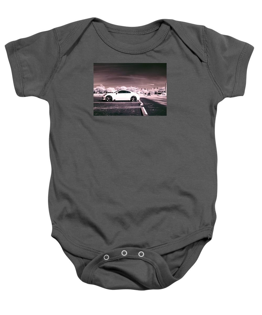 America Baby Onesie featuring the photograph Porsche Car Side Profile Pink Near Infrared by Sally Rockefeller