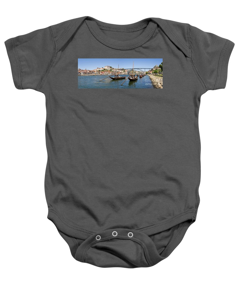 Porto Baby Onesie featuring the photograph Port Wine Boats In Porto City by Jose Elias - Sofia Pereira