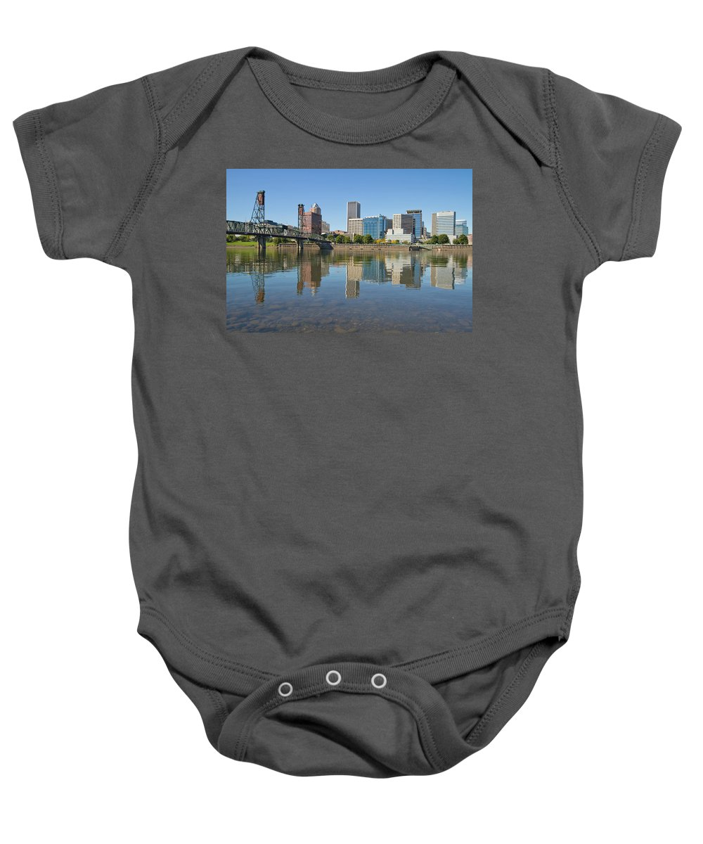 Portland Baby Onesie featuring the photograph Portland Downtown Skyline And Hawthorne Bridge by Jit Lim
