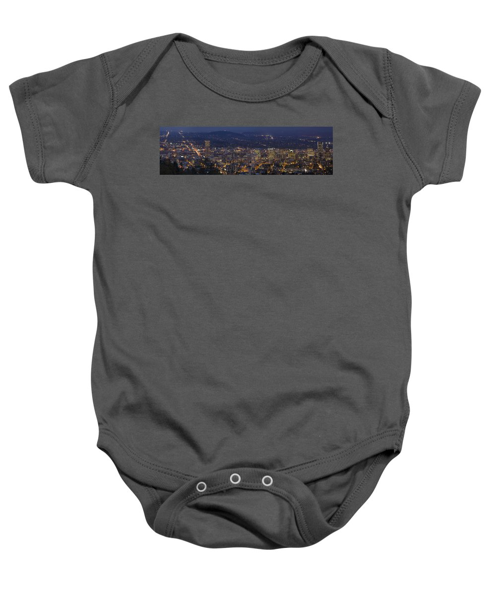 Portland Baby Onesie featuring the photograph Portland Oregon Downtown Cityscape At Blue Hour by Jit Lim