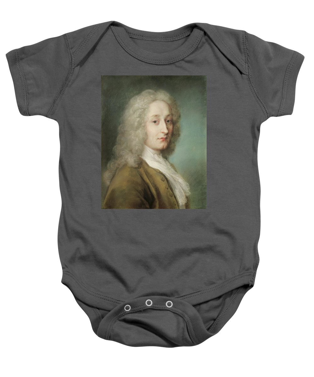 Male Baby Onesie featuring the photograph Portrait Of Antoine Watteau 1684-1721 Pastel On Paper by Rosalba Giovanna Carriera