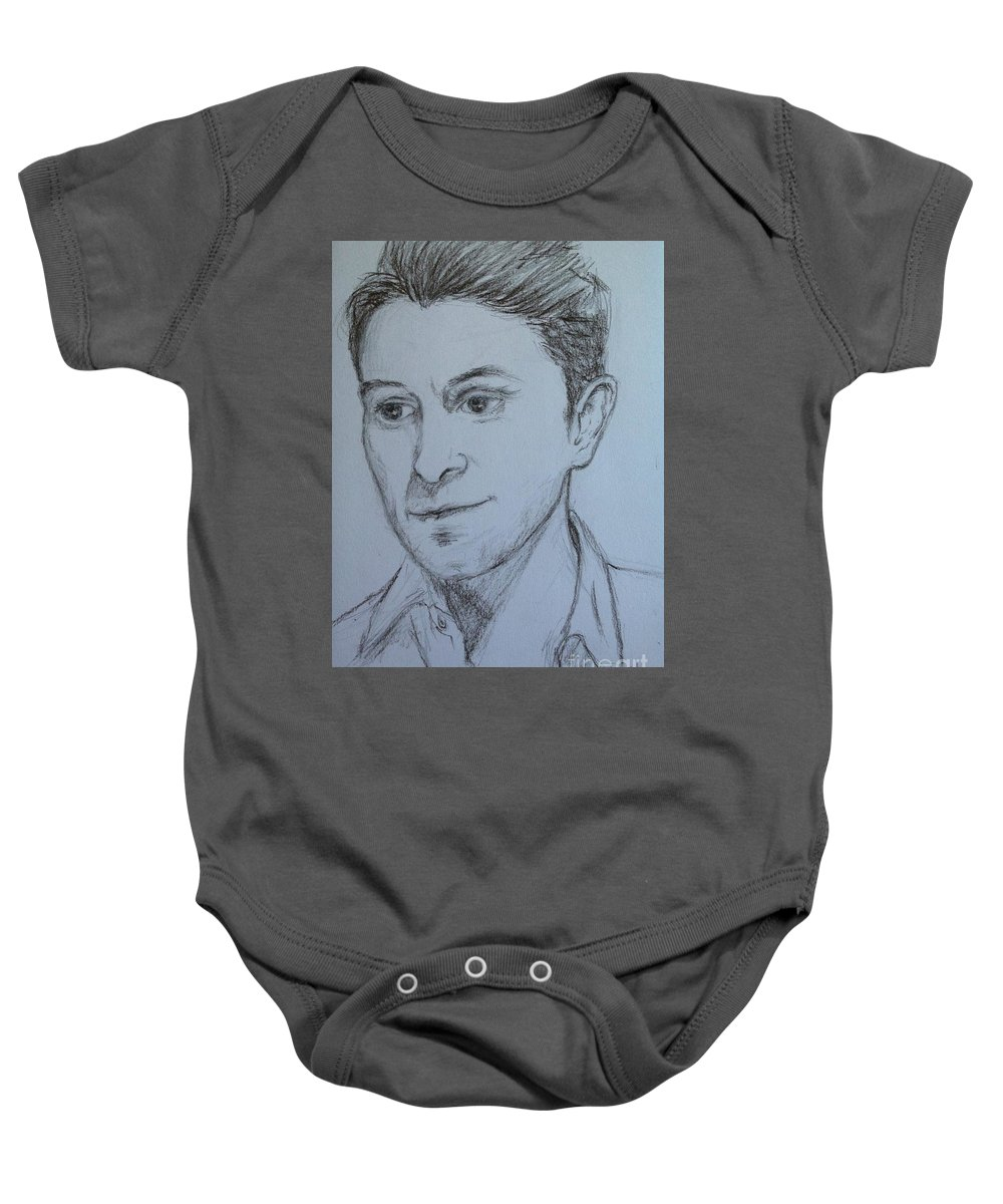 Celebrities Baby Onesie featuring the drawing Portrait Of Mark Owen by Joan-Violet Stretch