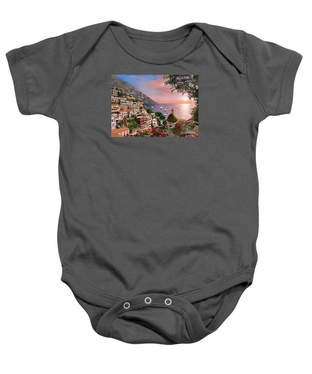 Positano Baby Onesie featuring the digital art Positano by MGL Meiklejohn Graphics Licensing