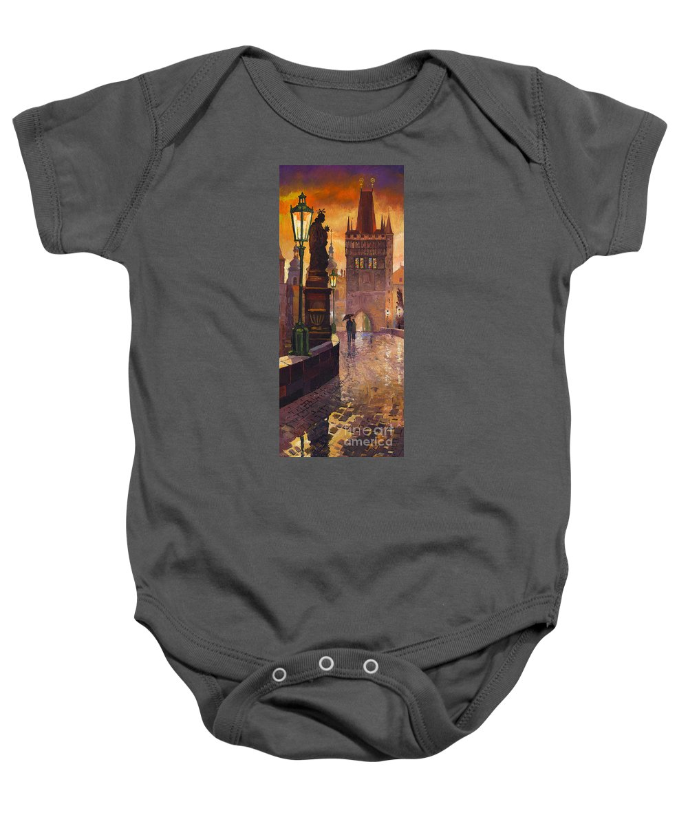 Prague Baby Onesie featuring the painting Prague Charles Bridge 01 by Yuriy Shevchuk